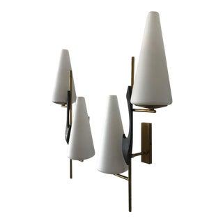 1960s Mid-Century Modern Maison Arlus Glass Sconces - a Pair