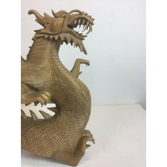 Rare Magnificent Vintage-Carved Wooden Dragon Figurine For Sale In Los Angeles - Image 6 of 13