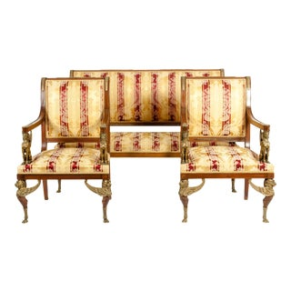 Late 19th Century Empire Style Three Gilt Bronze Mounted Salon Suite - Set of 3 For Sale