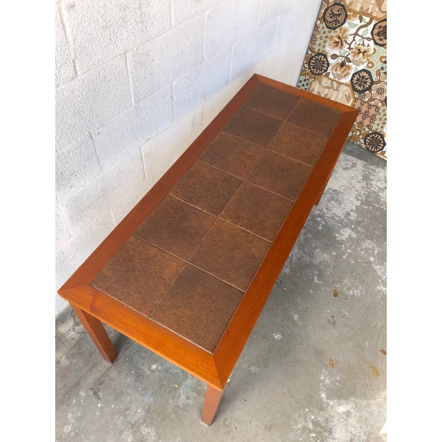 Vintage Mid Century Danish Modern Tile Top Console/ Entry Table For Sale - Image 4 of 13