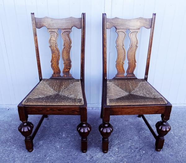 Antique Oak French Jacobean Dining Chairs Set Of 6 Chairish