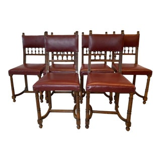 Jacobean Style Dinning Chairs - Set of 6 For Sale