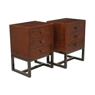 French Faux Crocodile Leather Clad Night Tables - a Pair For Sale