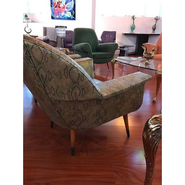 Tan Italian Mid-Century Modern Club Chairs with Faux Snake Skin - A Pair For Sale - Image 8 of 9
