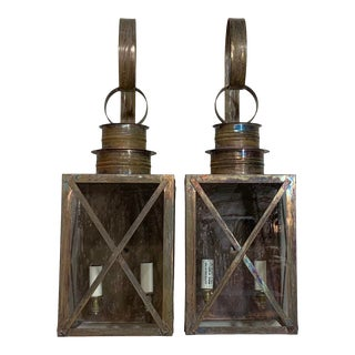 Solid Copper Wall Lanterns - a Pair For Sale