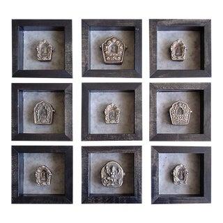 Antique Bronze Tibetan Gau Prayer Boxers - Set of 9 For Sale