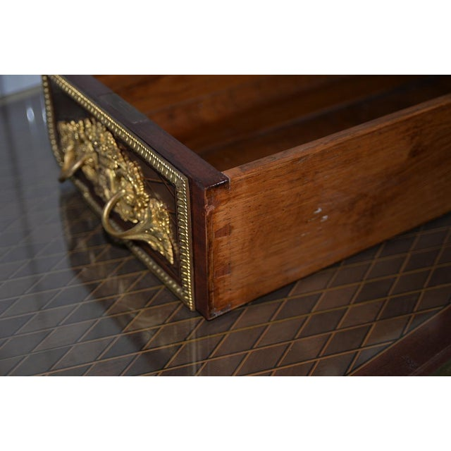 19th C. French Louis XVI Style Mahogany Bureau Plat W/ Trelliswork Marquetry For Sale - Image 9 of 13