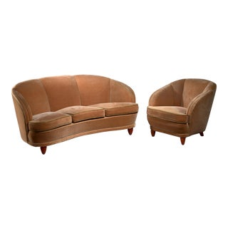 Curved Three Seater Sofa and Matching Chair, Sweden, 1930s For Sale