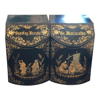 Chinoiserie Tole Tea Canisters - a Pair For Sale