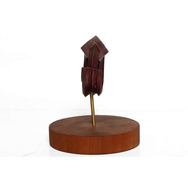2000s Sebastian Teak & Bronze Sculpture For Sale - Image 5 of 5