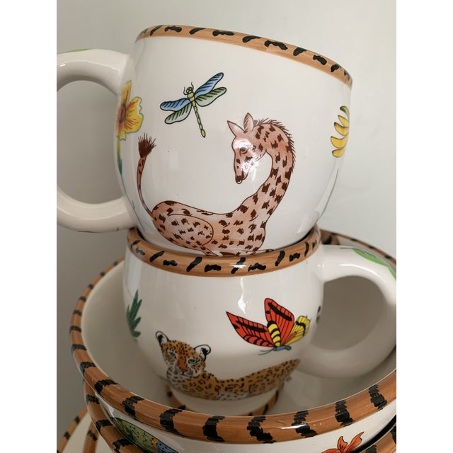 Ceramic Lynn Chase Jungle Jubilee Hand Painted Colorful Wildlife China Set - 12 Pieces For Sale - Image 7 of 11