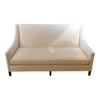 Vintage Mid Century White Velvet Sofa For Sale