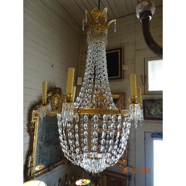 19th Century French Empire Crystal Chandelier For Sale - Image 12 of 13