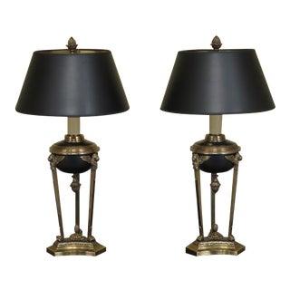 Chapman Regency Style Black & Brass Table Lamps - A Pair