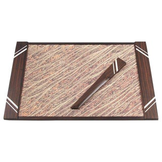 French Art Deco Macassar Desk Set Blotter Pad and Letter Opener For Sale