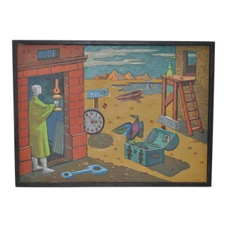 1940s Surreal Painting by R. Sterling For Sale