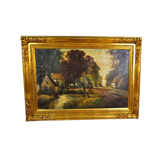 French Countryside Painting Oil on Canvas, A. Poot 1924-2006, France For Sale