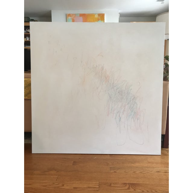 Expressive markings in graphite and colored pencil, layered with light washes of a warm creamy white acrylic, adds an...