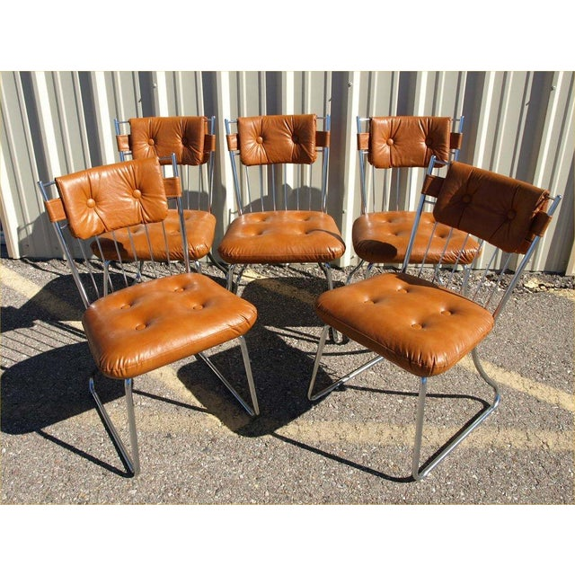 Daystrom Chrome And Vinyl Padded Chairs - Set of 5 - Image 2 of 8