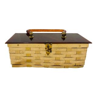 Antique Gold Tin and Tortoise Shell Resin Bakelite Box For Sale