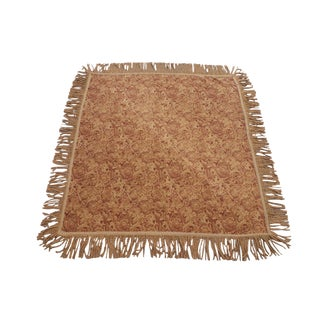 Red & Gold Square Tasseled Rug by Rug Barn For Sale