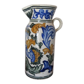 20th Century Large Terra Cotta Hand Painted Pitcher For Sale