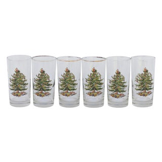 Vintage Christmas Tree Glasses - Set of 6 For Sale
