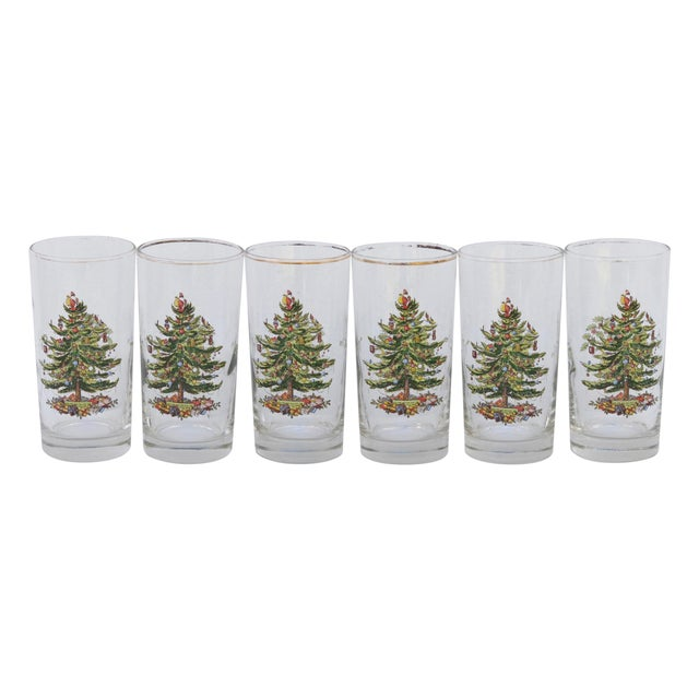 Vintage Christmas Tree Glasses - Set of 6 For Sale