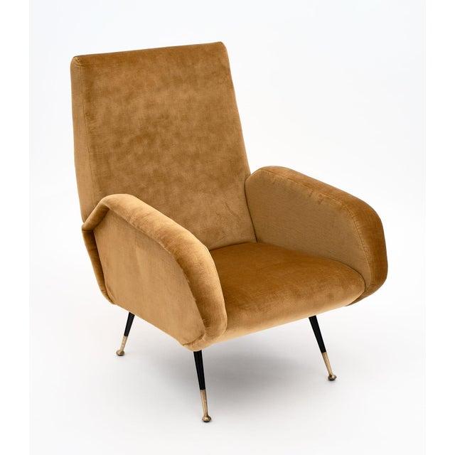 Gold Velvet Vintage Italian Armchairs For Sale - Image 4 of 10