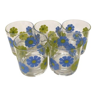 "Vintage 1970s Colony Blue and Green ""Flower Power"" Old Fashion Glasses - Set of 5 For Sale"