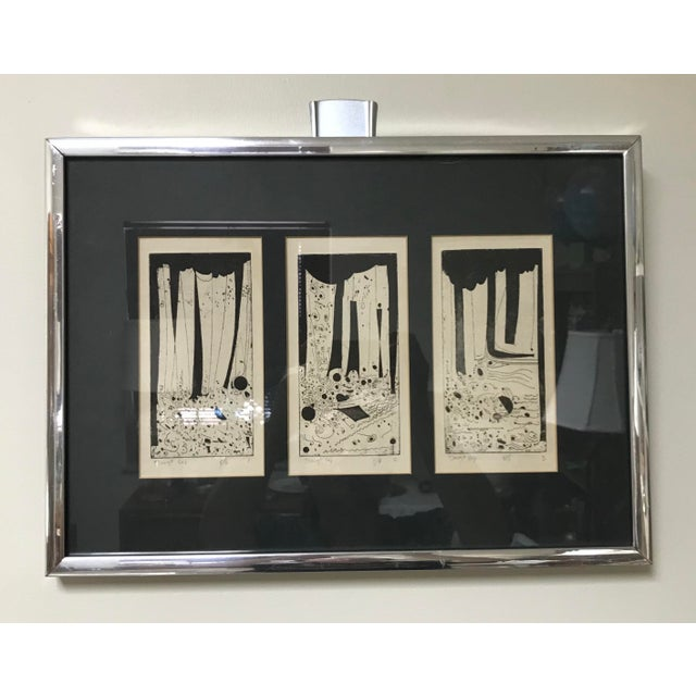 Procured from a local Saint Louis, MO row housing set for demolition. This is a trio of framed & matted block prints with...