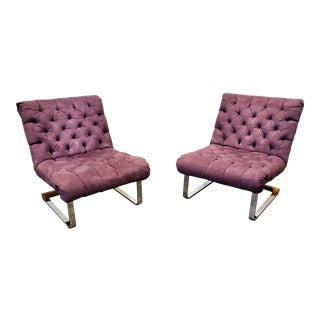 Milo Baughman Style Cantilever Lounge Slipper Chairs - a Pair For Sale