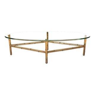 Metal Bamboo Base Coffee Table For Sale