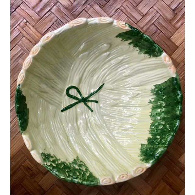 Shabby Chic Green Ceramic Asparagus Bowl For Sale - Image 10 of 10