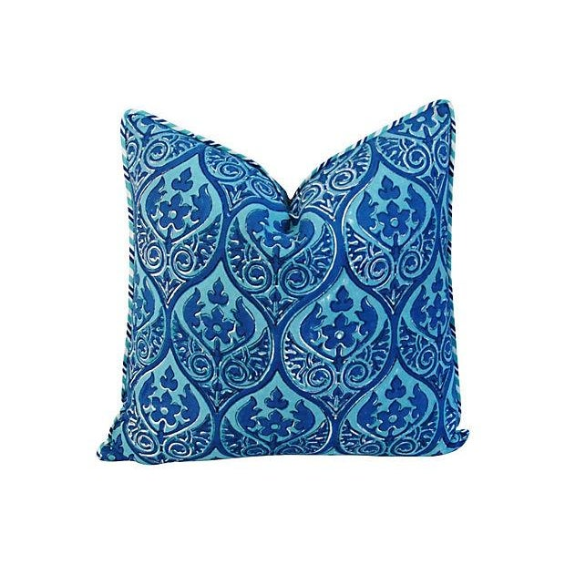 Custom Blue Hand-Blocked & Printed Pillows - Pair - Image 6 of 6