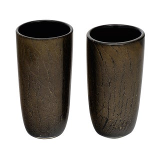 Black and Avventurina Murano Glass Vases - a Pair For Sale
