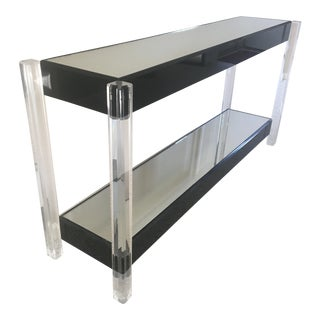 Mid-Century Modern Lucite & Mirrored Console Table