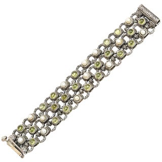 Sterling Silver, Peridot and Pearl Bracelet For Sale