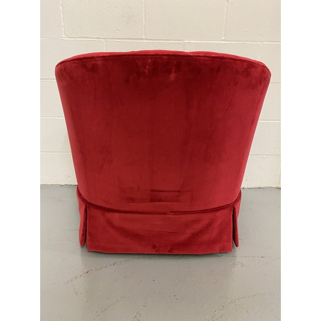 Mid-Century Modern 1960s Red Velvet Button Tucked Arm Chair For Sale - Image 3 of 6