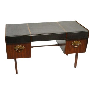 Leather Top, Walnut and Bronze Desk by Bert England for Widdicomb For Sale