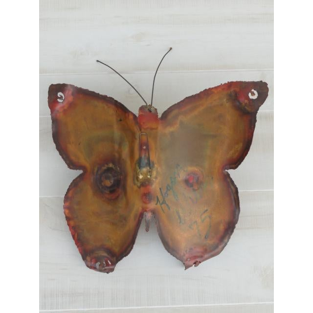 Mid-Century Modern Signed by Artist Copper Butterfly Metal Wall Sculpture For Sale - Image 9 of 13