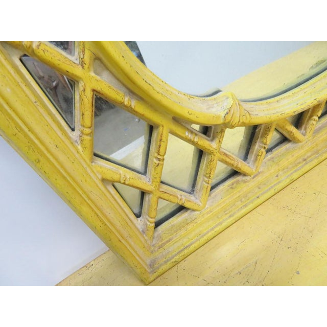 Chinoiserie Yellow Console Table & Mirror - Image 2 of 8