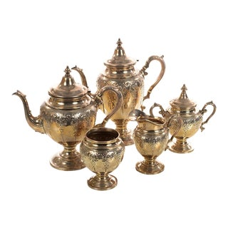 Sterling Silver Beautiful Antique Victorian Tea Set -5 pieces