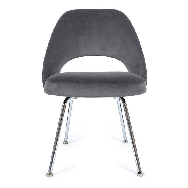 Saarinen Executive Armless Chairs in Gunmetal Velvet - Set of 6 - Image 4 of 5