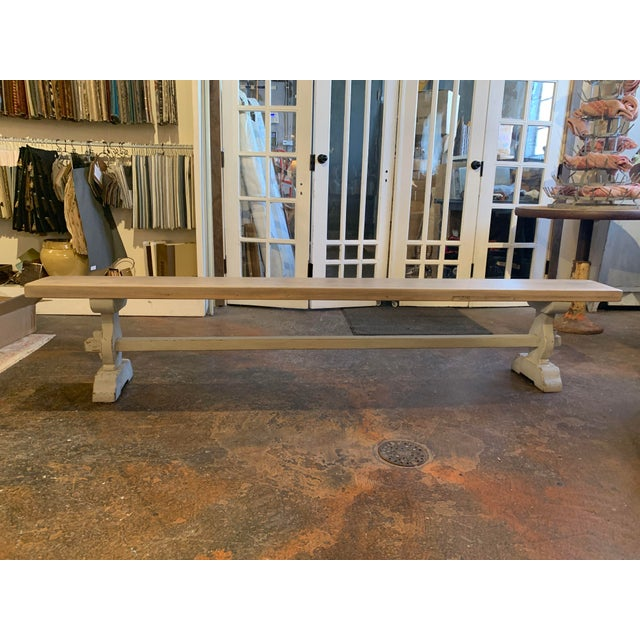 French Vintage Mid Century French Blue-Gray Trestle Bench For Sale - Image 3 of 13