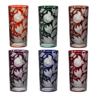 Verdure Highball Glasses, Set of 6, Jewel Tones (Racer Green, Burnt Orange, Ink, Mahogany, Purple, Red) For Sale