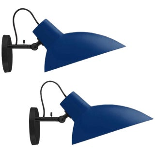 Italian Vittoriano Viganò 'Vv Cinquanta' Navy Blue Enamel Wall Sconces - a Pair For Sale