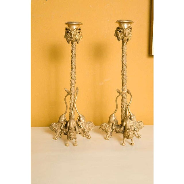 Figurative Pair Renaissance-Style Gilt Bronze Candlesticks For Sale - Image 3 of 6