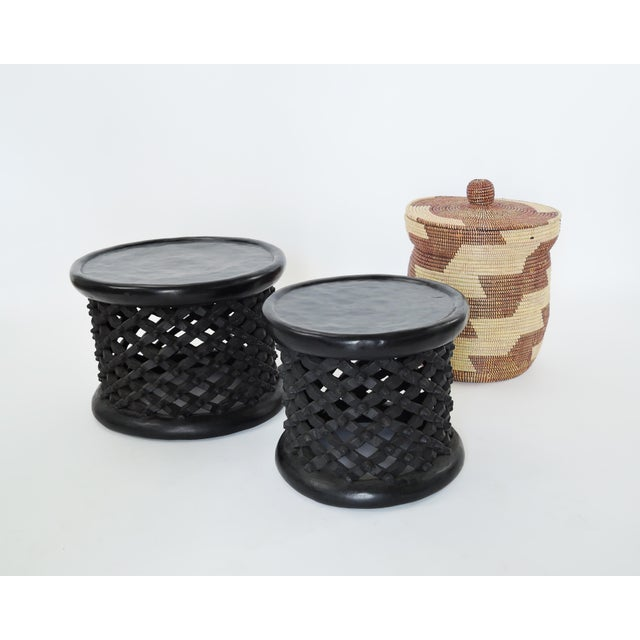 Wood Bami Spider Table Hand Carved Solid African Hardwood From Camaroon Small Size For