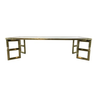 Global Views Contemporary Brass Finished Beveled Leg Cocktail Table For Sale